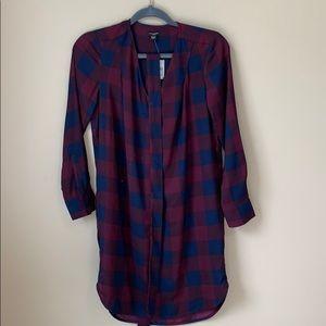 Ann Taylor Burgundy Plaid Long Sleeve Dress NWT